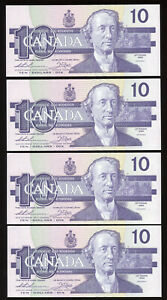 Lot of 4 Consecutive 1989 Bank of Canada $10 Replacement Notes - ADX Prefix