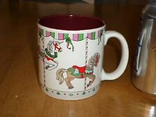 CAROUSEL - HORSES ON POLES, Ceramic Coffee Cup / Mug, Vintage
