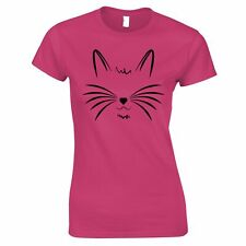 I Love Cats Womens TShirt Face with Heart Nose Cute Kitten Pet Gift Idea Tee