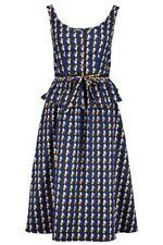 A.P.C. Blue Oval Print Cotton-Twill Sleeveless Midi Dress. FR 40/UK 12