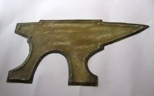 OLD IRON CUTOUT TRADE SIGN , IRON SMITH DISPLAY . STAKE ANVIL