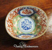 Antique Japanese Kutani Imari Tea Bowl Cup Unusual Egg or Oval Shape Birds