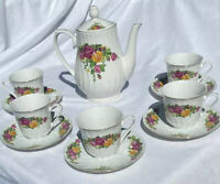 "Vintage Regent China ""English Rose"" Porcelain Teapot w/5 Tea Cups & Saucers"