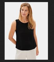 Eileen Fisher Essentials Petite Silk Georgette Black Crepe Tank Shell Top Nwt PM