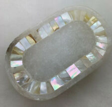 Mother Of Pearl Inlay In Marble Soap Dish With Pedestal