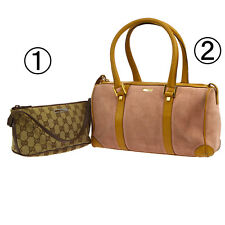 Auth GUCCI GG Pattern Hand Bag 2 Set Beige Pink Canvas Suede Leather VTG A34146