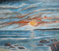 IMPRESSIONIST SEASCAPE OIL PAINTING SIGNED