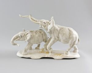 9997870 Porzellan Figur Ens Elefant Paar Elefantengruppe hell 19,5x32cm