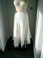 Vintage Twiggy size 12 embroidered linen calf length skirt with petticoats