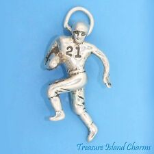 RUNNING FOOTBALL BALL PLAYER 3D .925 Solid Sterling Silver Charm