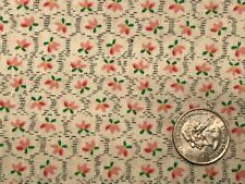 """Vintage Pink Floral Ecru/Natural Cotton Quilting Doll Fabric 44"""" BTHY 1/2 yd."""