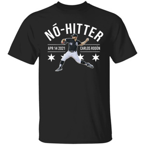 Men's No?-hitter #55 Carlos Rodo?n Chicago White Sox Logo 2021 Black T-shirt ...