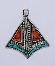 Ethnic Handmade Sterling Silver Fashion Tibetan Turquoise coral Pendant K42