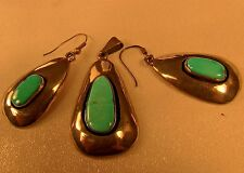 Navajo Vintage Sterling Silver Kingman Turquoise Pendant Earrings Signed Set