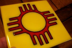 """Vintage 4"""" Cleo Teissedre Southwestern Sun Red Terracotta Pottery Wall Art Tile"""