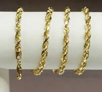 """18KT Solid Yellow Gold Diamond Cut Rope Chain Necklace 22"""" 5 mm 42 grams"""