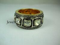 Natural Pave Diamond & Diamond Polki Gold & 925 Sterling Silver Ring Jewelry