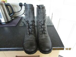 Grey Leather Combat Ankle Boots 5.5 38.5 Eyelets Laces Buckles Casual Winter