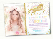 Rainbow Unicorn Invitation Birthday Party Invite Pink Gold Twinkle Stars Magical