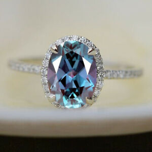 Sterling Silver Color Changing Blue Alexandrite Halo Wedding & Engagement Ring