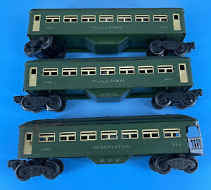 Lionel Green Pullman Cars 2 X 6440 and Observation Car 6441