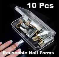10Pcs Reusable UV Gel Acrylic French Tips Nail Art Extension Guide Form Tool Hot