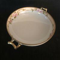 "Atq Nippon Morimura Hand Painted Handled Bowl Gold Bead Trim Magenta Stamp 7"""