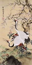 ORIENTAL ASIAN FINE ART CHINESE WATERCOLOR PAINTING-Crane Birds lover&Flowers