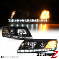 For AUDI A6 05-08 Black Projector Headlight LED DRL Daytime Driving Running Lamp