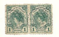 Pair 1898 Netherlands 1 Gulden Stamps - Used & Hinged - Free UK P&P