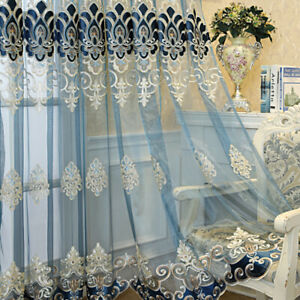 European Semi-finished Tulle Curtains Fabric for Bedroom Window Sheer Drape