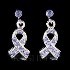 Periwinkle Esophageal Stomach Cancer Ribbon made with Swarovski Crystal Earrings