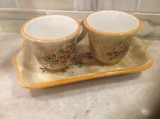 Deruta Italian Pottery Espresso Set with tray and 2 cups