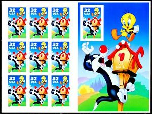 Sylvester & Tweety IMPERFORATED Side Panel Stamp Sheet of 10 MNH Scotts 3205