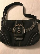 Coach 10296 Luxurious Black Canvas Leather Trim Handbag Hangtag Mint!