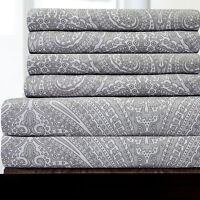 6 Piece Paisley Print Bedroom Sheet Set 1500 Thread Count Egyptian Comfort