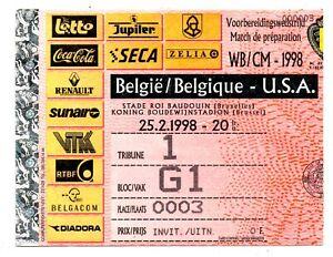 Ticket Belgium - USA 25.02.1998