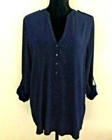 Esprit Women's Blouse/Top Size 10 Navy and White Spot Long Roll Tab Sleeve