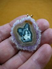 J-AM-31) light Purple White Amethyst crystal green cave Stalactite slice PENDANT
