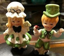 Vtg Lefton St. Patrick's Day Irish Shamrock Boy And Girl Figurines Orig Sticker