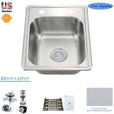 "Stainless Steel Single Bowl Topmount Drop In Kitchen/Bar Sink 22"" x 17"""