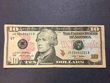 $10 Dollars Bill 5/8 Solid 2's Series 2009, Fancy Serial Number, JG 22 40 222 1