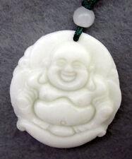 White Jade Tibet Buddhist Happy Buddha Yuanbao Amulet Pendant