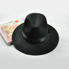 Hot Fashion Women Men's Soft & Crushable Stingy Brim Wool Felt Fedora Hats Black