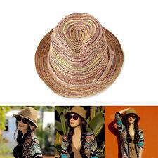 Mode Eté Femmes Panama Casquette Chapeau Paille Soleil Bord Plage Mer Pliable NF