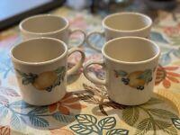 Vintage Corning Ware Corelle Abundance Coffee Cups Mugs Set of 4 A-48-A