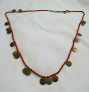 """Lucky Brand Red Bead Copper Tone Discs Boho Necklace 28"""""""