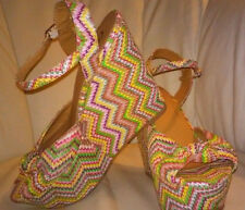 Candie's Woven Multi Colored Chevron Striped Platform Wedges Calaniny 9.5 Junior
