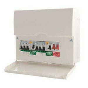 BRITISH GENERAL 12-MODULE 6-WAY POPULATED HIGH INTEGRITY DUAL RCD CONSUMER UNIT