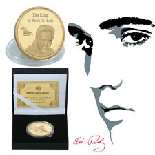 WR Gold Plated Elvis Presley Coin Remember The King of Rock N Roll Free Gift Box